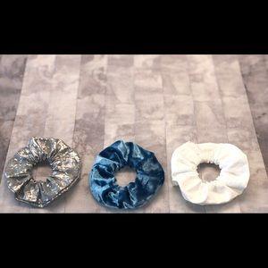 Gray, Blue Velvet, White - Scrunchie Pack New